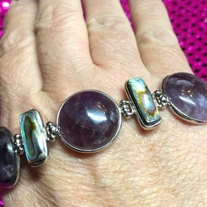 Jewelry - Amethyst and Abalone Sterling Silver Bracelet